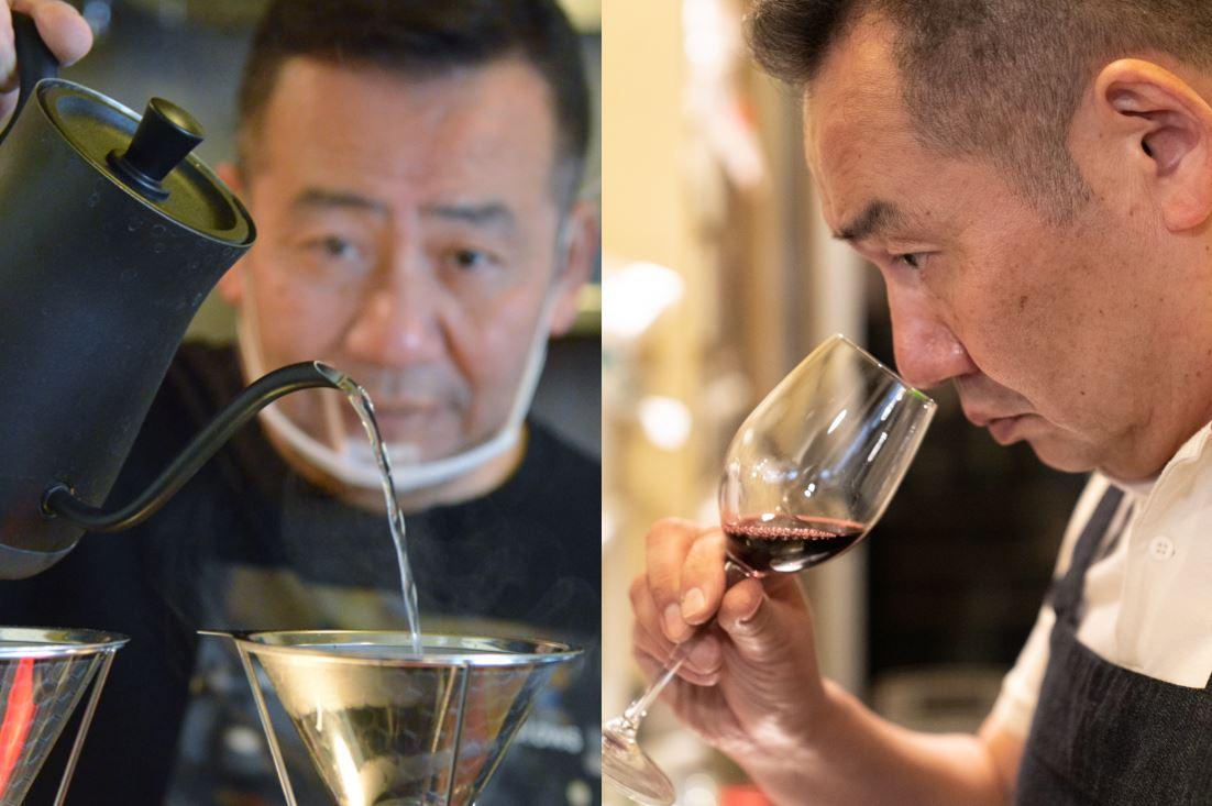 コーヒーを淹れたりワインの香りを確認する店主・寺尾豊