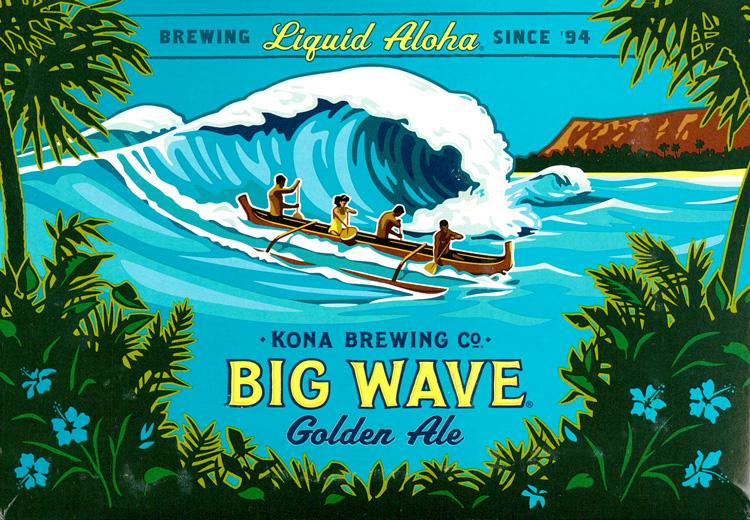 ノースショアの大波が描かれたBIG WAVEのラベルイラスト