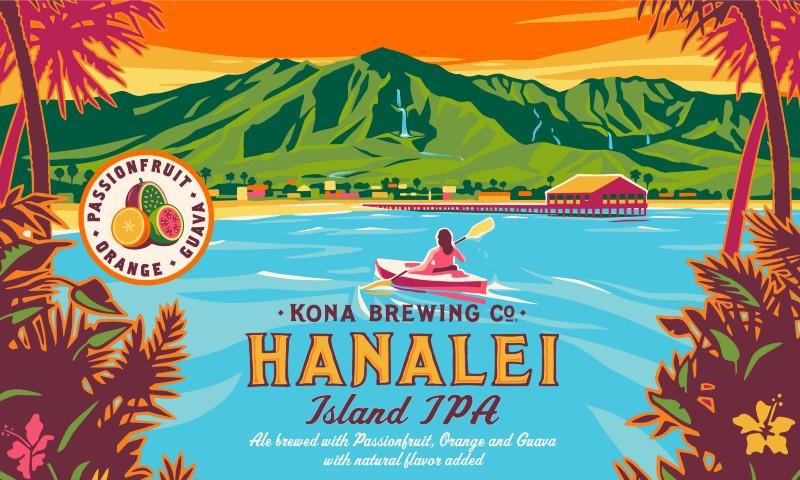 カウアイ島ハナレイ湾からいくつもの滝が流れるのが見えるまかな山を見上げる様子を描いたラベルイラスト