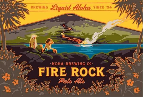 ハワイ島キワウエア火山から流れる溶岩が海に注ぎ込む様子を描いたラベルイラスト