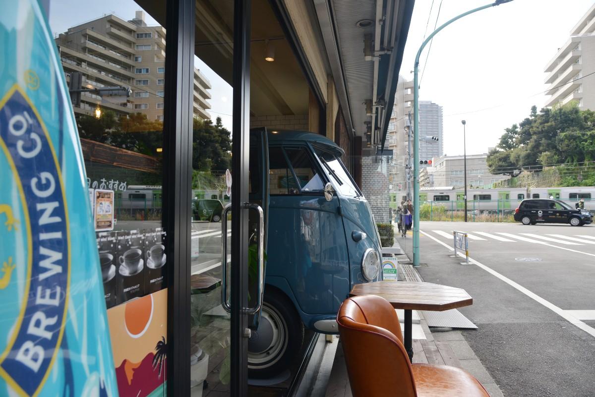 店の横からワーゲンバスのフロントを見ながら山手線方面を見る