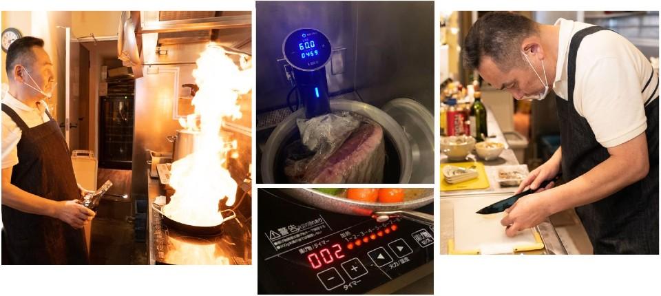 厨房での店主・寺尾豊と、厨房器具のいくつか