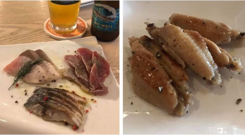 料理写真、カルパッチョとチキンソテー